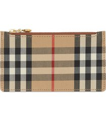 burberry vintage check card case - brown