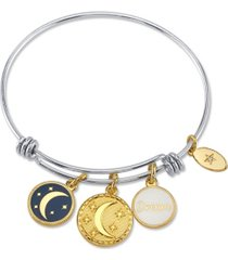 """unwritten """"dream"""" adjustable bangle bracelet in stainless steel with silver plated charms"""