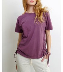 coin 1804 womens cotton short-sleeve side lace up tee