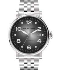 grayton men's classic collection silver tone stainless steel bracelet 44mm