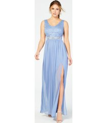bcx juniors' sequined lace & chiffon gown, created for macy's