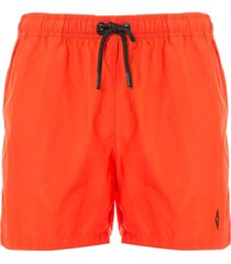 marcelo burlon county of milan cross logo swim shorts - red