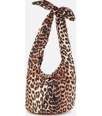 ganni women's padded tie shoulder bag - leopard