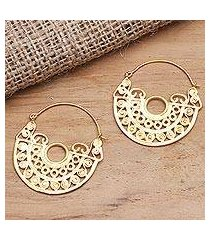 gold plated brass hoop earrings, 'observe happiness' (indonesia)