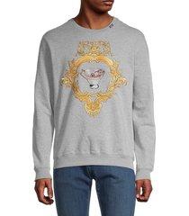 versace men's embroidered crewneck sweatshirt - light grey - size xxl