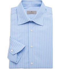 canali men's modern-fit pinstriped dress shirt - blue - size 41 (16)