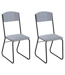 conjunto com 2 cadeiras byron cinza e preto