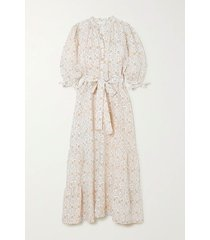 camellia belted floral-print linen maxi dress