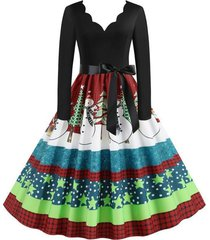 plaid snowman christmas tree scalloped belted plus size dress