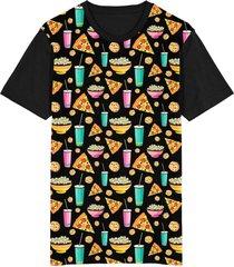 camiseta tshirt migian pizza cookie pipoca sublimada preto
