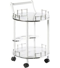 bold tones round wood serving bar cart tea trolley with 2 tier shelves and rolling wheels
