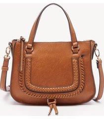 women's destin crossbody bag 2 vegan studded whipstich cognac vegan leather from sole society