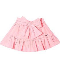 msgm pink skirt with bow