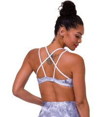 onzie women's graphic mudra yoga sports bra - light gray tie dye large