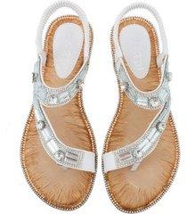 sandalias planas a rayas azules a cuadros para mujer
