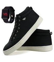 sapatênis casual cano alto dhl masculino preto e branco + relógio digital