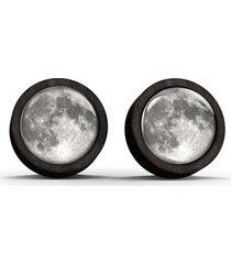 kolczyki drewniane - księżyc - czarne