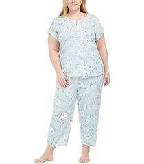charter club plus size cotton floral-print pajama set, created for macy's