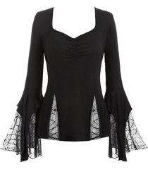plus size spider web lace bell sleeve gothic t-shirt
