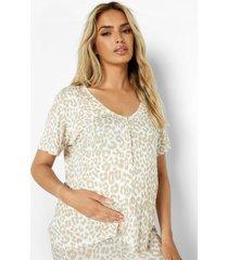 zwangerschap luipaardprint borstvoeding top met knopen, stone