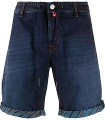 jacob cohen drawstring denim bermuda shorts - blue