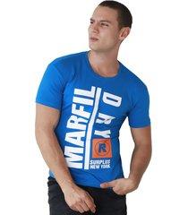 camiseta de hombre marfil slim fit algodon dy azul