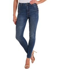cece straight-leg jeans with side buttons