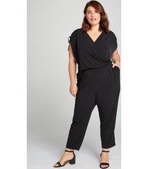 lane bryant women's knit kit crossover jumpsuit 22/24 black