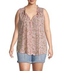 plus dahlia floral sleeveless blouse