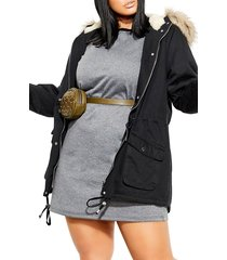plus size women's city chic londoner hooded parka with faux fur trim, size xx-large - black