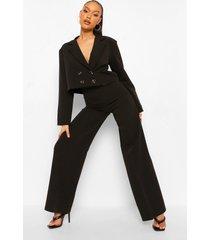 getailleerde baggy wide leg broek, black