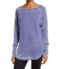 women's treasure & bond thermal knit shirttail hem long sleeve tee, size medium - blue