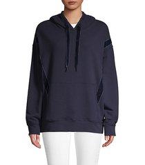 velvet-trimmed hoodie