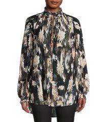 iro women's senk painterly-print silk blouse - black multi - size 36 (4)