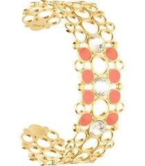 bracciale rigido in ottone rosato con cristalli e smalto arancione per donna
