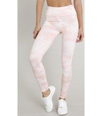 calça legging feminina esportiva ace estampada camuflada com proteção uv50+ rosa claro
