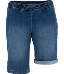 bermuda di jeans elasticizzati con cinta comfort (blu) - bpc bonprix collection