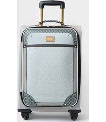 river island womens grey patent monogram embossed suitcase