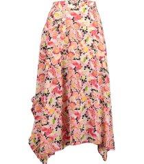 ashlyn floral silk print skirt