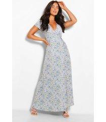 maxi bloementprint jurk met laag uitgesneden decolleté en knopen, blauw
