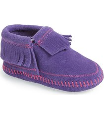 toddler girl's minnetonka 'riley' fringe suede bootie, size 6 m - purple