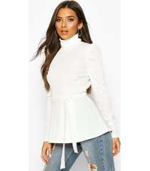 belted peplum long sleeve top, ivory