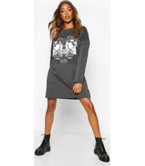 graphic sweat dress, charcoal