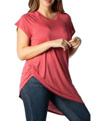 24seven comfort apparel women's plus size asymmetric short sleeve t-shirt