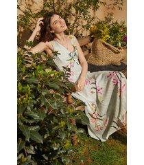 midi-dress floral and lurex stripes - green - xl