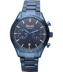 orologio cronografo cinturino e cassa in acciaio blu per uomo