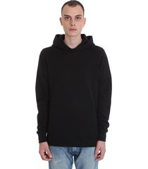 john elliott hooded villian sweatshirt in black cotton