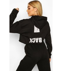 back print slogan crop hoodie, black