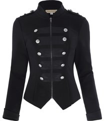 women retro front military style shirt buttons decorated zipper jacket coat top