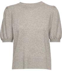 puff shoulder top t-shirts & tops knitted t-shirts/tops grijs davida cashmere